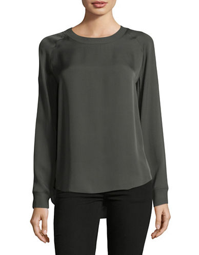 Vince Long Sleeve Silk Blouse-GREEN-Large