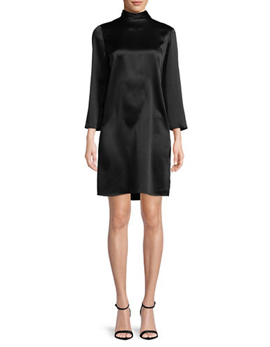 Vince Silk Shift Dress-BLACK-Large