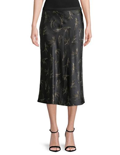 Vince Floral Silk Skirt-GREY-Medium