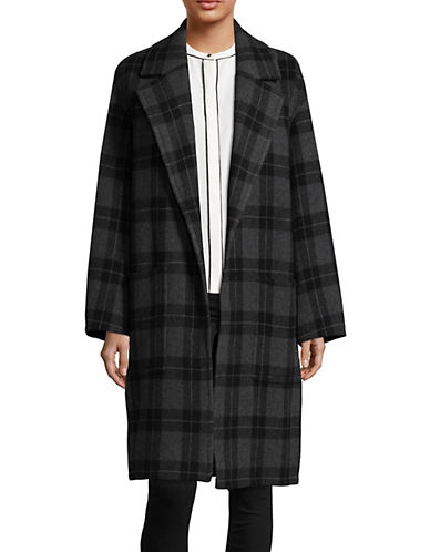 Vince Tonal Plaid Car Coat-BLACK-X-Small