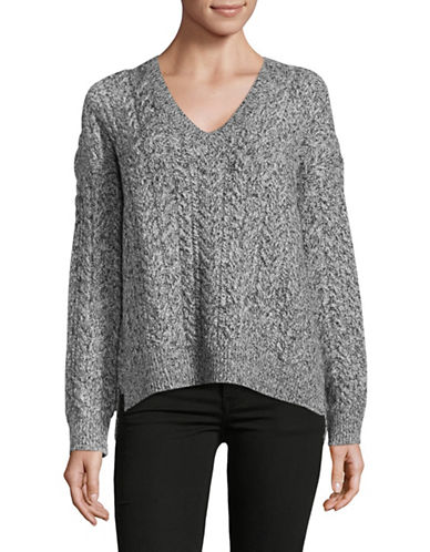 Vince Cable Knit Wide V-Neck Sweater-GREY-Large