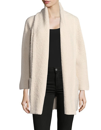 Vince Striped Open Front Cardigan-NATURAL-Large