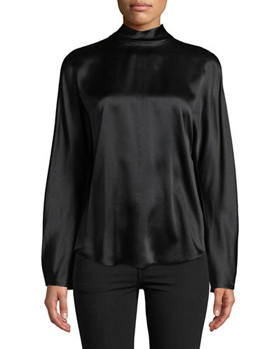 Vince Silk Band Collar Blouse-BLACK-Large