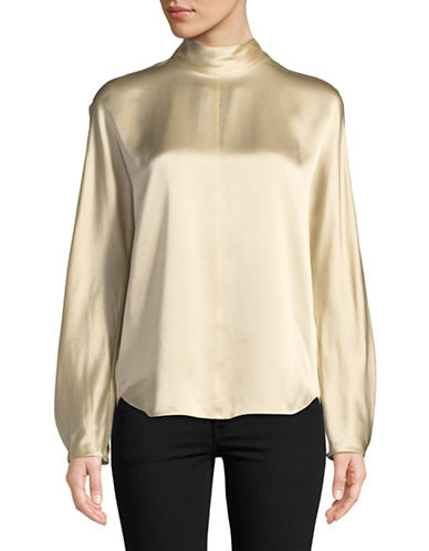 Vince Silk Band Collar Blouse-ROSE-Small