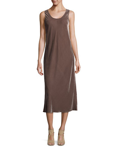 Vince Scoop Neck Velvet Tank Dress-BROWN-Medium