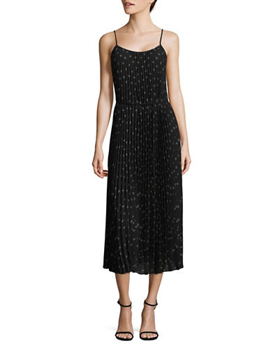 Vince Pleated Floral Maxi Dress-BLACK-X-Small