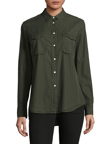 Vince Cotton-Silk Utility Shirt-GREEN-Large