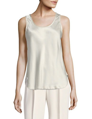 Vince Scoop Neck Silk Tank Top-WHITE-Large