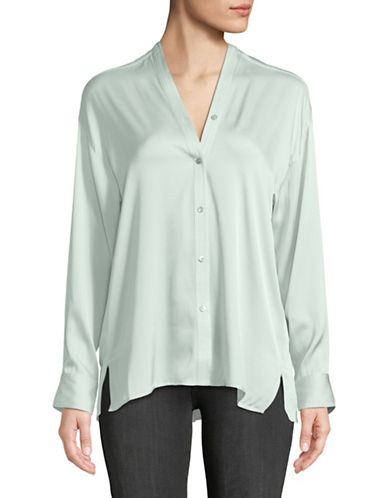 Vince Silk-Blend Trapunto-Neck Blouse-ICE-Small