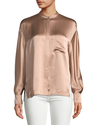Vince Silk Button-Down Blouse-PINK-X-Small