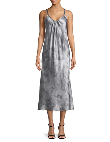 Vince Watercolor Marble Silk Cami Dress-DARK SMOKE-Medium