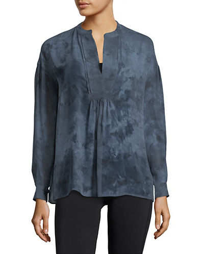 Vince Watercolour Marble Silk Blouse-BLUE-Small