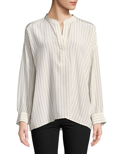 Vince Striped Long-Sleeve Silk Top-CREAM-Large