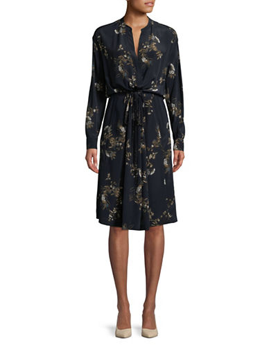 Vince Spaced Floral Silk A-Line Dress-COASTAL-Large