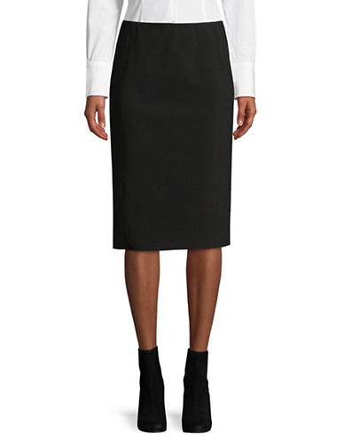 Vince Pull-On Stretch Pencil Skirt-BLACK-Medium
