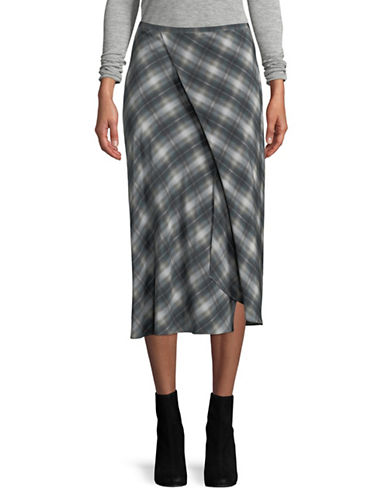 Vince Shadow Plaid Silk Wrap Skirt-BLUE-4
