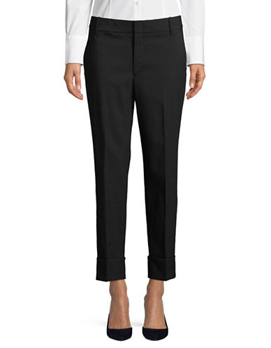 Vince Cuffed Wool-Blend Trousers-BLACK-0