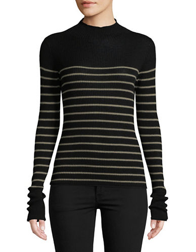 Vince Striped Roll Edge Sweater-BLACK-X-Small