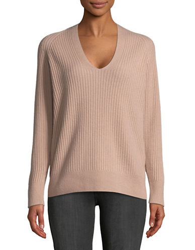 Vince V-Neck Wool-Blend Sweater-PINK-X-Small