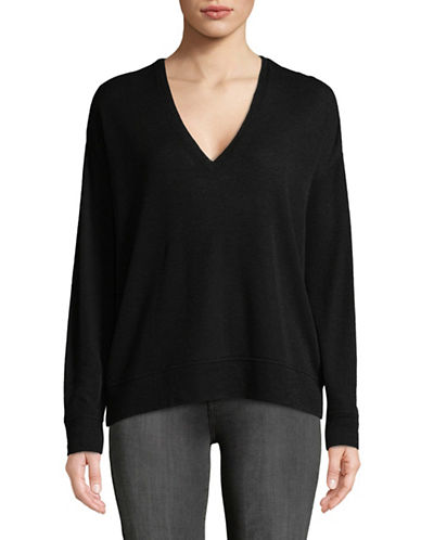 Vince V-Neck Wool Sweater-BLACK-X-Small