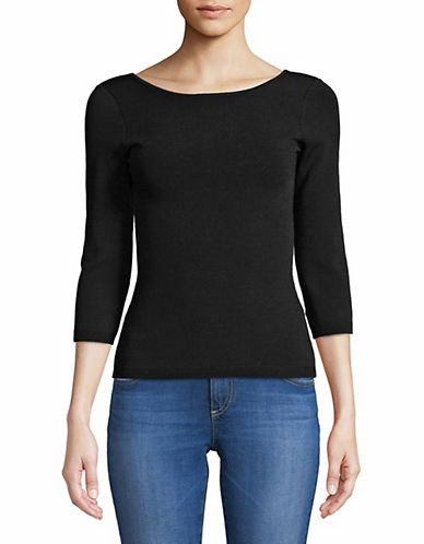 Vince Scoop Back Three-Quarter Sleeve Top-BLACK-X-Small 89984364_BLACK_X-Small