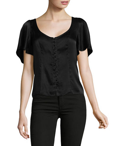 Lpa Button Front Silky Top-BLACK-X-Small