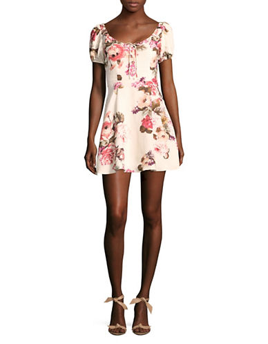 Lpa Floral Fit-And-Flare Dress-WHITE MULTI-X-Small