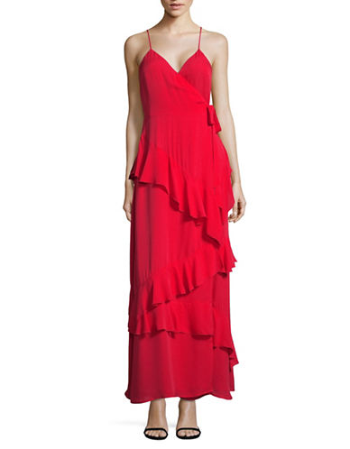 Lpa Ruffle Maxi Silk Dress-RED-Medium