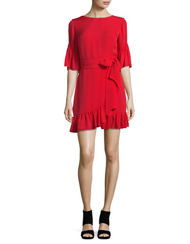 Lpa Scoop Back Ruffled Sheath Dress-RED-Small