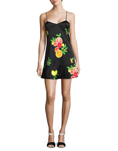 Lpa Fruit Print Silk-Blend Slip Dress-BLACK MULTI-Large