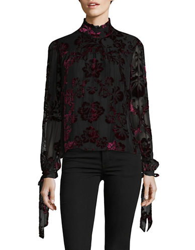Lpa Mock neck Long Sleeve Blouse-BURGUNDY-Large