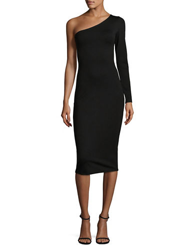 Lpa One-Shoulder Midi Dress-BLACK-Large