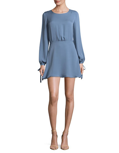 Lpa Open Back Silk Short Dress-BLUE-X-Small