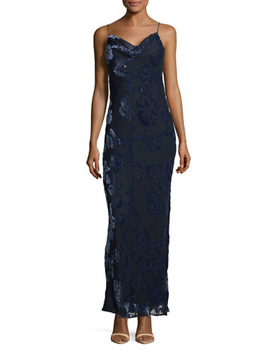 Lpa Long Flocked Velvet Slip Dress-NAVY-X-Small