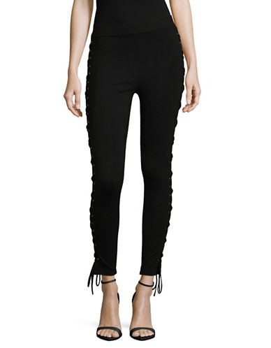 Lpa Lace-Up Leggings-BLACK-X-Small