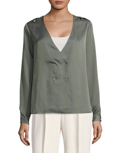 LAcademie Cadet Double-Breasted Blouse-GREEN-X-Small