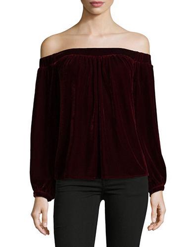 LAcademie Velvet Off Shoulder Blouse-RED-Medium