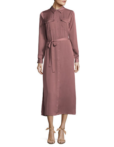 LAcademie Long-Sleeved Shirt Dress-PINK-X-Small