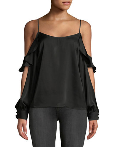 LAcademie Cold-Shoulder Blouse-BLACK-Small