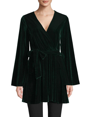 LAcademie Velvet Mini Wrap Dress-GREEN-X-Small