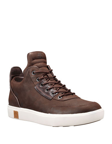 Timberland Lace-Up Leather Chukka Sneakers-BROWN-11