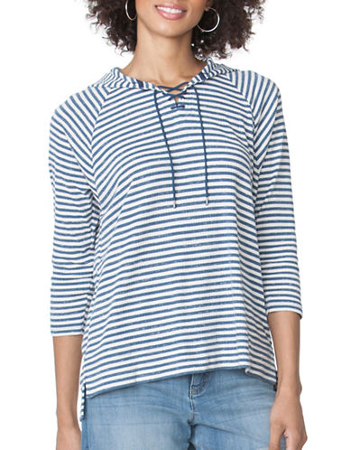 Chaps Striped Waffle-Knit Hoodie-BLUE-Medium 89052354_BLUE_Medium