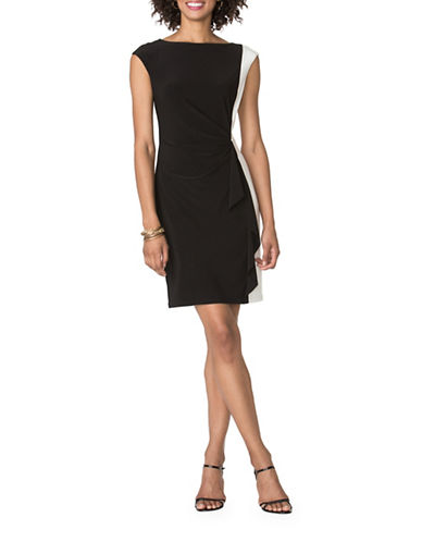 Chaps Two-Toned Sheath Dress-BLACK-X-Small
