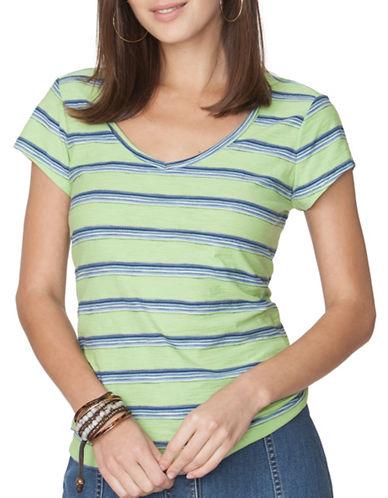 Chaps Striped V-Neck Tee-GREEN MULTI-X-Small