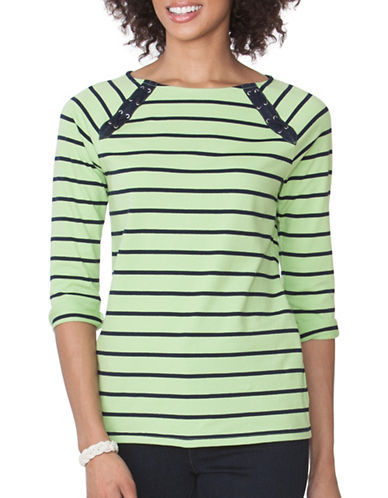 Chaps Striped Lace-Up Tee-GREEN-Large 89090913_GREEN_Large