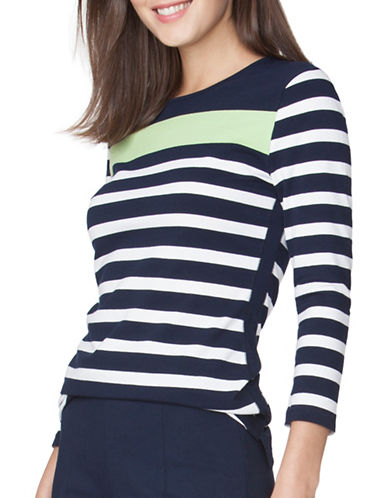 Chaps Striped Jersey Tee-GREEN-X-Small 89090920_GREEN_X-Small