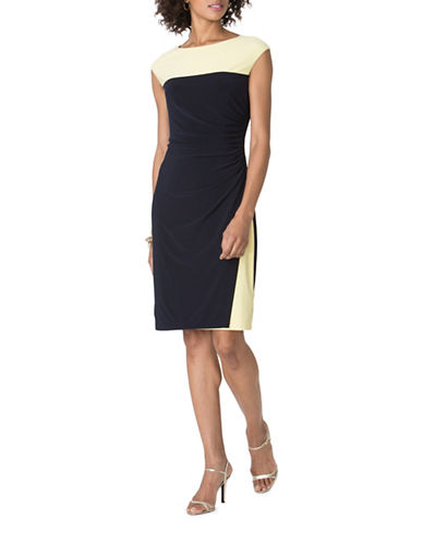 Chaps Two-Toned Jersey Dress-NAVY/YELLOW-X-Large