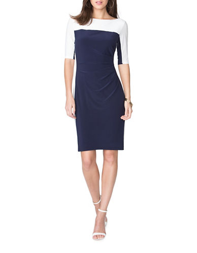 Chaps Two-Tone Jersey Dress-MULTI-X-Large