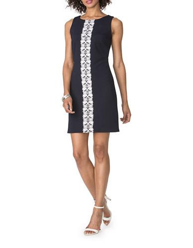 Chaps Lace-Trim Jacquard Dress-NAVY/WHITE-6