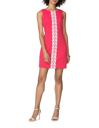 Chaps Lace-Trim Jacquard Shift Dress-PINK/WHITE-8